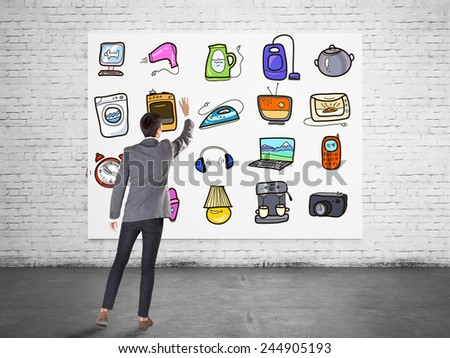 Businessman touch technology icons - stock photo