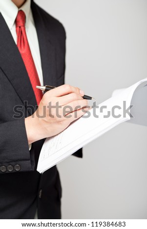 businessman touching and select concept - stock photo