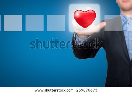Businessman Touching Heart Button and Ticking Check Box. Blue - Stock Photo - stock photo