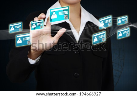 Businessman touching id card on virtual screen and showing the e-business concept. - stock photo
