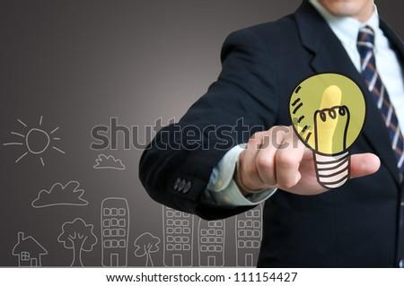 Businessman touching idea - stock photo