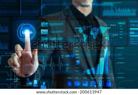 businessman touching technology screen - stock photo