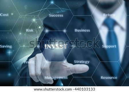 Businessman touching the Invest icon with business success virtual screen on Internet network concept background,Elements of this image furnished by NASA, Business technology concept - stock photo