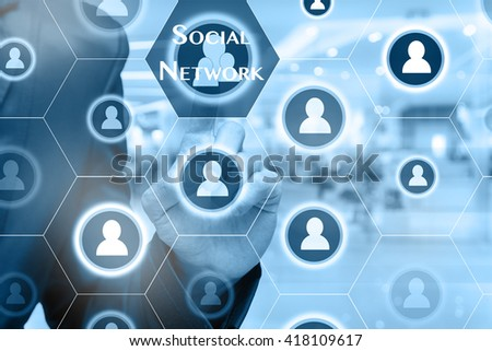 Businessman touching the Social network icon on Abstract blurred photo of store in department store bokeh background, Business technology concept  - stock photo