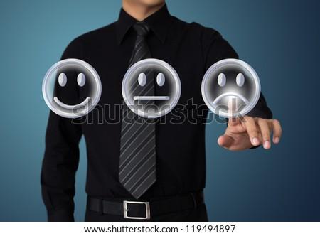 businessman touching unhappy mood - stock photo