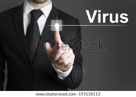 businessman touchscreen booking - stock photo