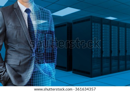 businessman transforming to 3d wire frame with server room background - stock photo