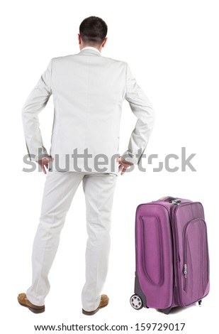 Businessman traveling with suitcas   Rear view people collection.   backside view of person.  Isolated over white background. - stock photo