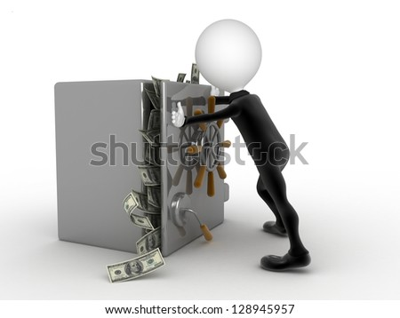 Businessman trying to close a security box full of money - stock photo