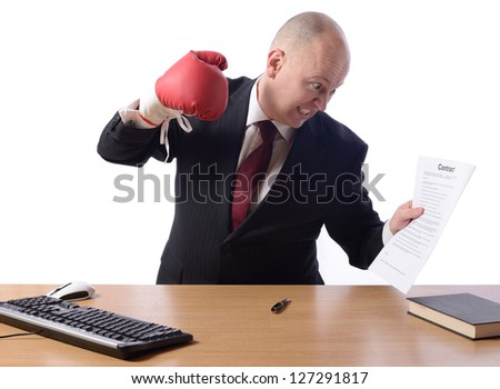 Businessman unhappy with contract - stock photo