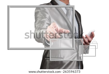 Businessman use smart phone with digital screen float out - stock photo