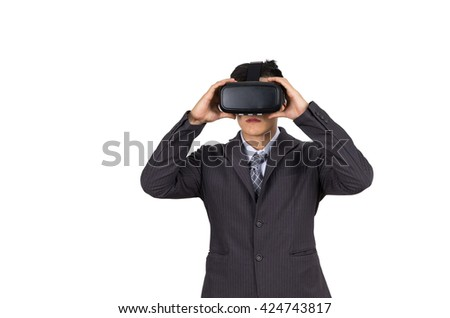 businessman used virtual reality helmet. VR glasses, on white isolated background - stock photo