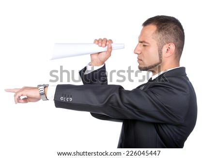 Businessman using a paper tube as binocular isolated on the white. - stock photo