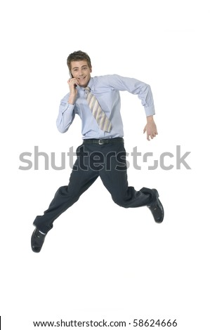 Businessman Using Cell Phone jumping - stock photo
