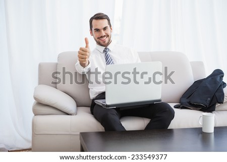 Businessman using laptop on his couch at home in the living room - stock photo