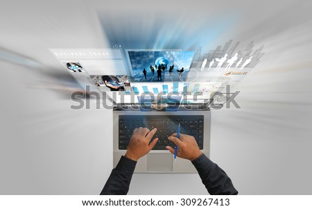 Businessman using laptop.Social media concept. - stock photo