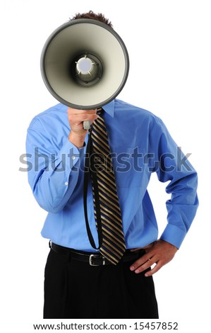Businessman using megaphone isolated over a white background - stock photo