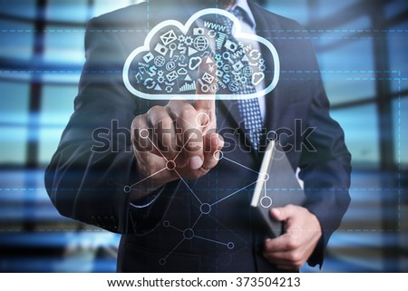 businessman using modern computer, pressing button on virtual screen. cloud technology and networking concept.  - stock photo