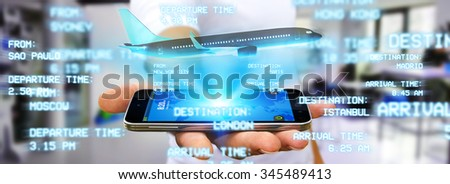 Businessman using modern mobile phone to book a flight - stock photo
