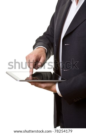 Businessman using modern tablet pc isolated on white - stock photo