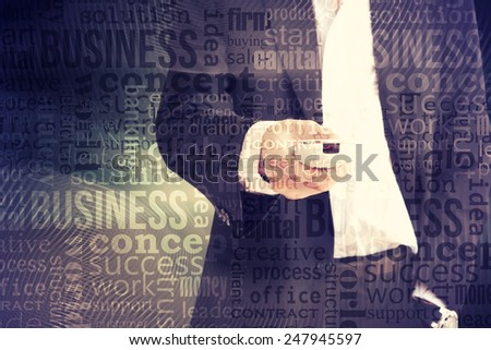 businessman using remote control - stock photo