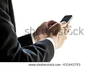 Businessman using smartphone, isolated on white background - stock photo