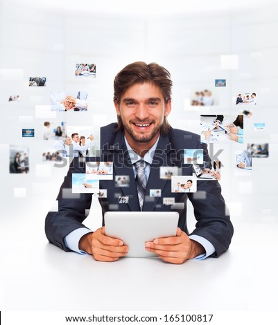 businessman using tablet pad computer communication technology smile, business man sitting at desk office, businesspeople icons, concept virtual conference meeting - stock photo