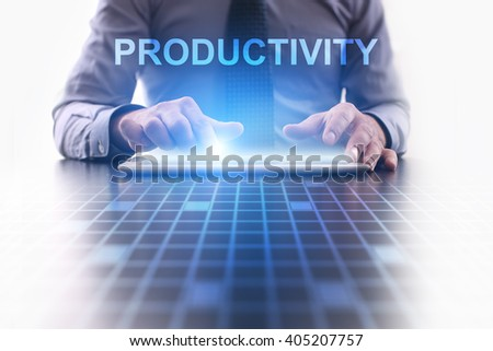 Businessman using tablet pc and select Productivity. - stock photo