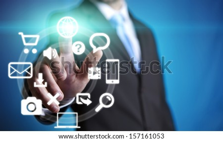 Businessman using tactile tablet - stock photo