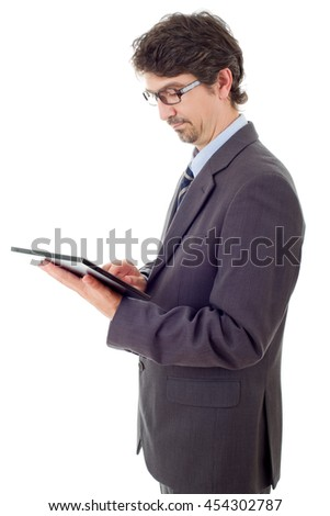 businessman using touch pad of tablet pc, isolated - stock photo