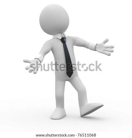 Businessman very happy, welcoming with open arms - stock photo