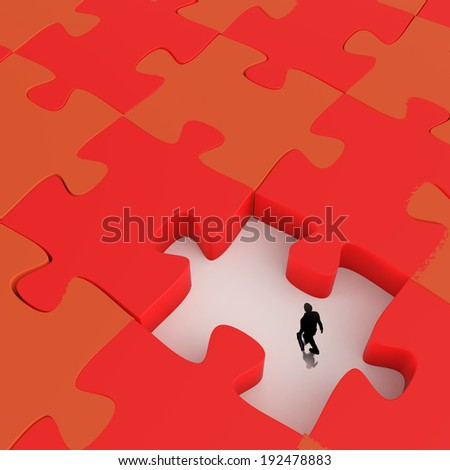 businessman walking in Missing 3d puzzle piece as concept - stock photo