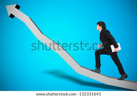 Businessman walking on chart, Conceptual image of business progress or growth - stock photo