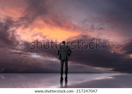 Businessman walking on journey to success as a business metaphor for entrepreneurship - stock photo