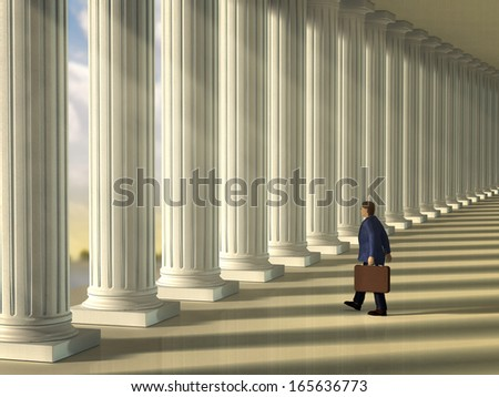 Businessman walking through a column lined walkaway . Digital illustration. - stock photo