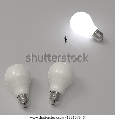 businessman walking to growing lightbulb 3d idea diagram as success concept  - stock photo