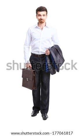 businessman walking with case, isolated on white. Concept of leadership and success  - stock photo