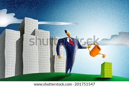 businessman watering a little green building in a cityscape - stock photo