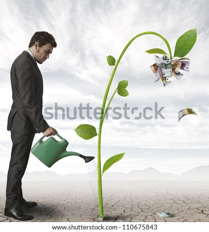 Businessman watering a plant that produces money - stock photo