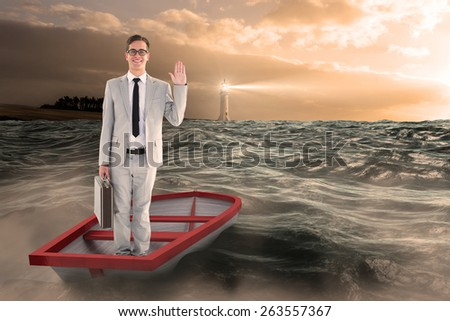 Businessman waving in boat against stormy sea with lighthouse - stock photo