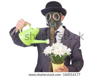 Businessman wearing gas mask isolated on white - stock photo