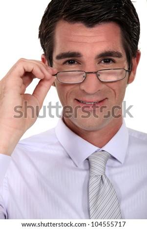 Businessman wearing glasses - stock photo