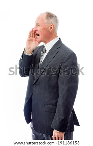 Businessman whispering - stock photo