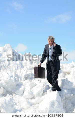 Businessman with a briefcase and phone - on a snow field - stock photo