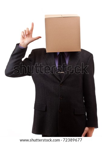 Businessman with a brown box on his head, concept, isolated in white - stock photo