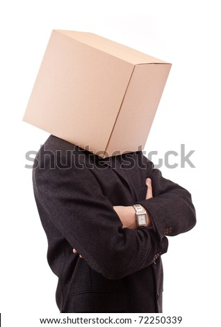 Businessman with a brown box on his head, isolated - stock photo