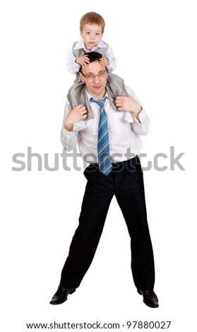 Businessman with a child on his shoulders in the studio, isolate on white - stock photo