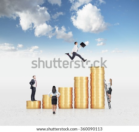 Businessman with a folder flying over a bar chart made of coins, another man standing on the lowest bar, woman climbing a ladder, another woman looking at them. Sky background. Concept of success. - stock photo