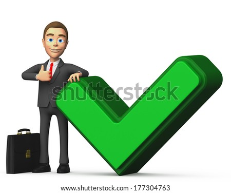 businessman with a green check mark - stock photo