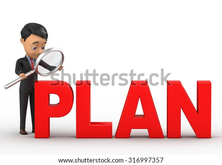 businessman with a magnifying glass - stock photo